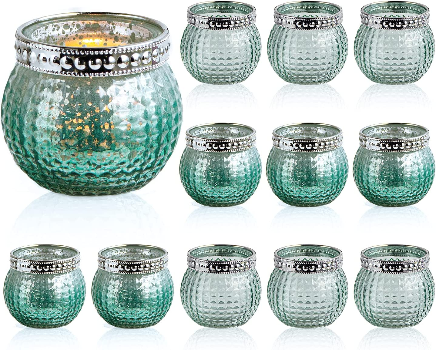 """Set of 12 Small Glass Votives, Tealight Candle Holders 2.3""""/5.9cm High, Mixed Green Color, Wedding Votives ,Vintage Boho Glass Candle Holders for Table Centerpiece Home Decor (Mint Green-12 Pack): Kitchen & Dining"""