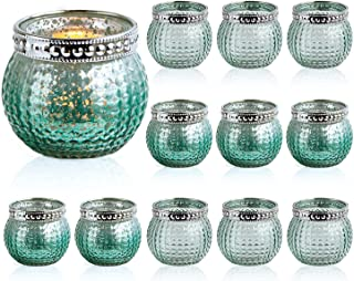 """Set of 12 Small Glass Votives, Tealight Candle Holders 2.3""""/5.9cm High, Mixed Green Color, Wedding Votives ,Vintage Boho G..."""