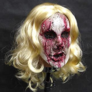 RONGLINGXING Novelty Creative Headgear, Halloween Masquerade, Latex Bloody,Female Ghost Mask, Long Hair Ghost Doctor Nurse Horror Mask, Masquerade Cosplay and Party Mask Dress Up Mask (Color : A)
