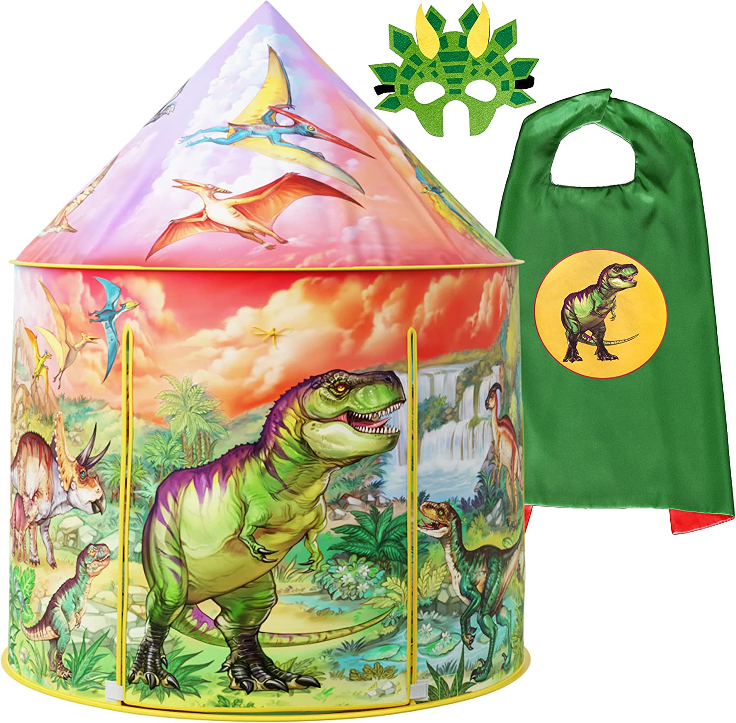 Dinosaur Play Tent Sale item Playhouse for Boys Dino Excellence with Mask and Girls