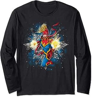 Captain Marvel Carol Danvers Energy Blast Long Sleeve T-Shirt