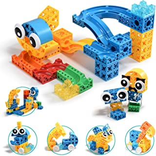 PUNGROW Marble Run Tracks Building Blocks, 129 Pcs Set, Interlocking Building Bricks with Pinball and Slides, DIY Educatio...