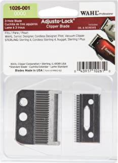 Wahl Professional 0000 Adjusto-Lock 3 Hole Clipper Blade #1026-001 – Designed for Specific Wahl Professional and Sterling Clippers – Includes Oil, Screws, and instructions.