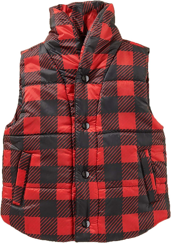 Cartwheels Toddler Buffalo Plaid Puffer Vest, Black and Red Plaid Print Vest