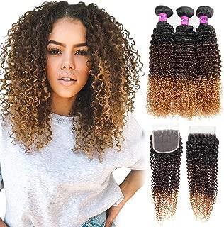 Mink Hair 3 Tone Ombre Kinky Curly Human Hair Bundles with Closure 8A (14 16 18+12) Brazilian Virgin Curly Human Hair Weaves,Black/Dark Brown/Blonde 1b/4/27# 100g/pc