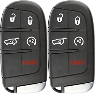 KeylessOption Keyless Entry Remote Starter Car Smart Key Fob for Dodge Durango Journey M3N-40821302 (Pack of 2)