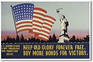 Keep Old Glory Free Forever - NEW Vintage Reprint Poster