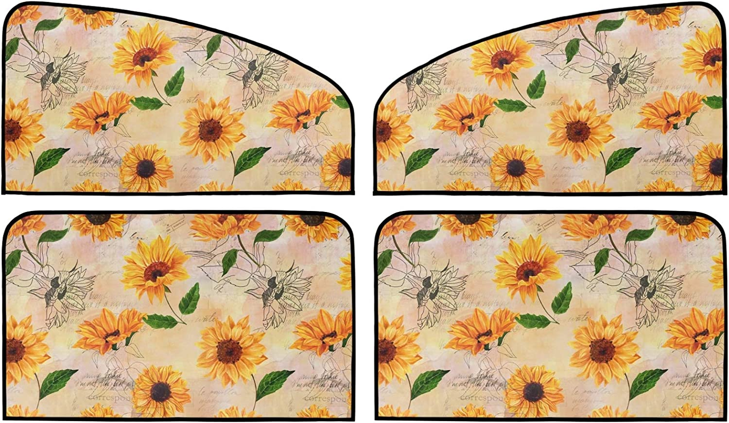 Sunflower Retro Style Don't miss the campaign Car supreme Sun Shade Uni Summer Pack 4 Insulation