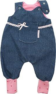 Kleine Könige Baby Strampler Mädchen Baby Body  Modell Jeansoptik mit Tasche Jona, Sterne pink rosa  Ökotex 100 zertifiziert  Größen 50-92