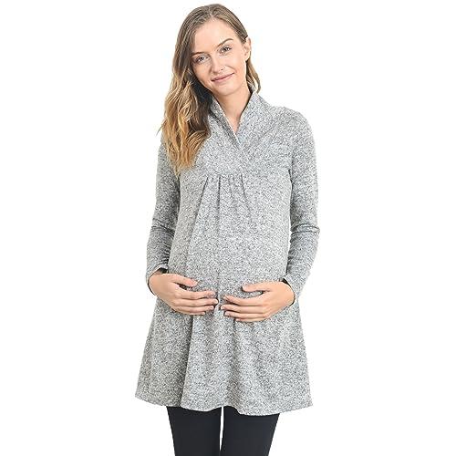 cab8ae10d21c Hello MIZ Women's Sweater Knit Maternity Long Sleeve Tunic Top