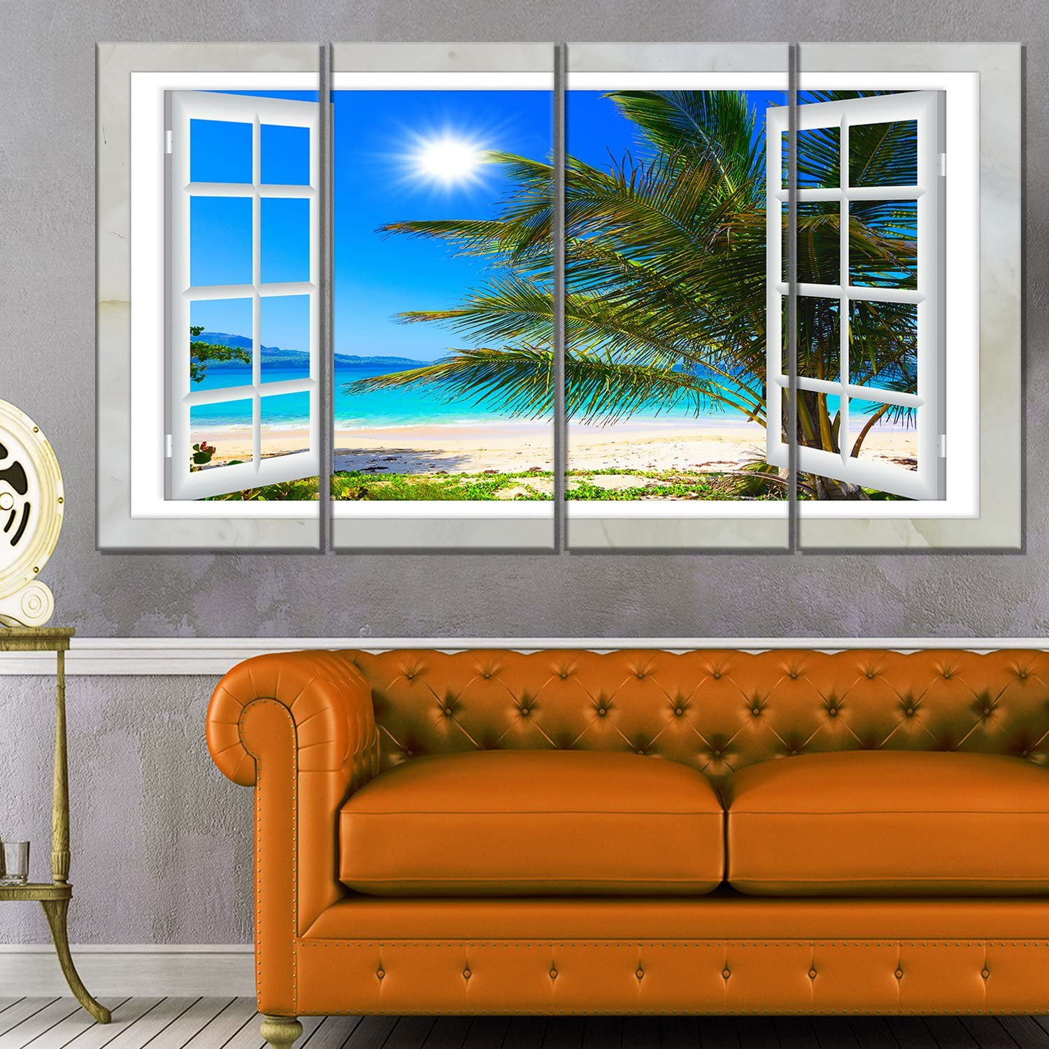 Designart Window Open to Beach with shopping Seashore Palm Large Extra Ca Courier shipping free shipping