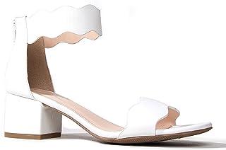 b1eef6f0ccda J. Adams Suede Open Toe Ankle Strap Sandal - Trendy Kitten Heel Shoe - Low