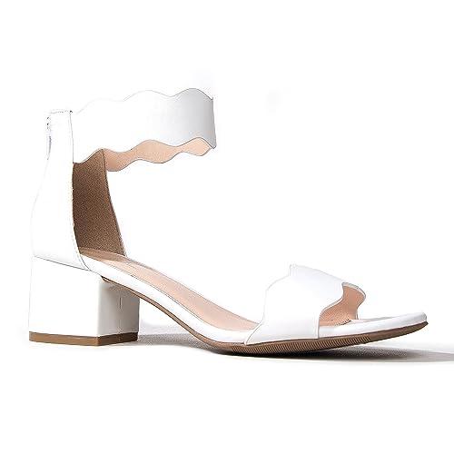 464e547940ef J. Adams Suede Open Toe Ankle Strap Sandal - Trendy Kitten Heel Shoe - Low