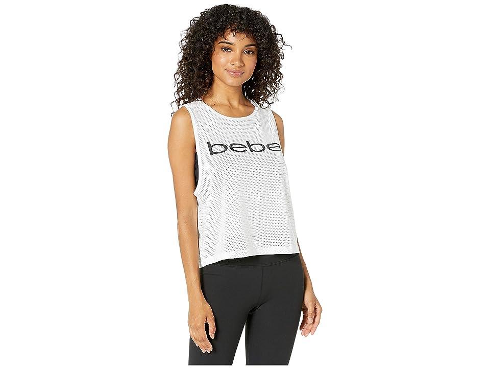Bebe Sport Solid Pinhole Mesh Tank Top (White) Women
