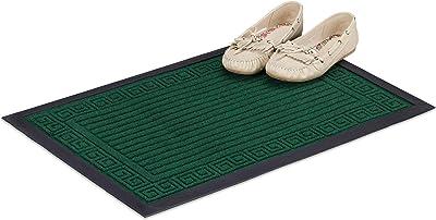 Relaxdays Paillasson tapis de sol antidérapant en caoutchouc intérieur extérieur entrée 40 x 60 cm, vert
