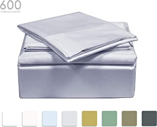 TRANQUIL NIGHTS - 600 Thread Count 100% Cotton Bed Sheet Set, 4-Piece Light Grey Queen Size Sheets, Soft & Silky Sateen Weave Luxury Bedding, Deep Pocket Sheets to Fit Upto 17