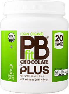 PBfit Vegan Organic Chocolate Plus Powder, 1 Pound