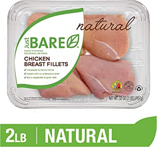 Just BARE Natural Fresh Chicken Breast Fillets   Family Pack   Antibiotic Free   Boneless   Skinless   2.0 LB