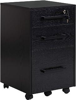 Caisson de bureau rangement bureau sur roulettes 3 tiroirs 1 verrouillable 1 trieur à dossiers MDF panneaux particules noir