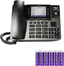 RCA U1100 Unison Wireless Deskphone - 4 Line Phone Systems for Small Business with Digital Receptionist Bundled with 6 Blucoil AAA Batteries