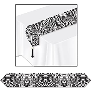 Beistle Club Pack Printed Zebra Print Table Runner, Box Contains 12 Zebra Print Table Runners.
