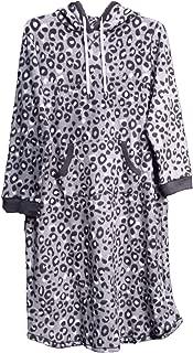 Cuddl Duds Soft Fleece Hooded Leopard Night Sleep Shirt Nightgown Robe Womens Plus~2X~1X~New
