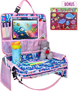 TravelMe Kids Travel Tray - Car Organizer Backseat Activity Station Snack Play Lap Tray with iPad Tablet Holder Detachable (Unicorn)