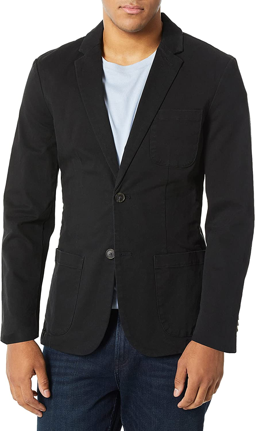 Bugatchi Men's Two Button Unconstructed Single Breasted Sky Blazer