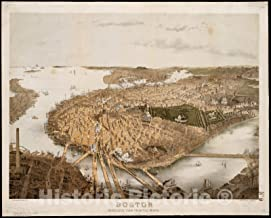 Historic Pictoric Map, ca. 1877 Boston : bird's-eye view from the north, Vintage Wall Art : 24in x 18in