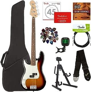 Fender Player Precision Bass, Pau Ferro, Left Handed - 3-Color Sunburst Bundle with Gig Bag, Stand, Cable, Tuner, Strap, Strings, Picks, Fender Play Online Lessons, and Austin Bazaar Instructional DVD