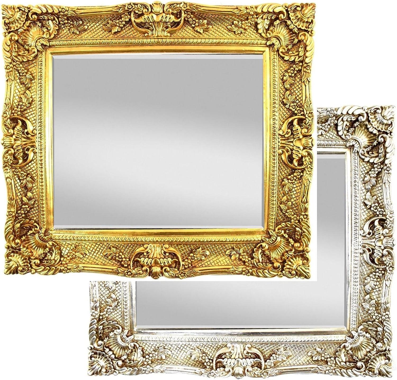 XXL Wandspiegel Antik   Barock Spiegel Gold 75x85 cm mit Facettenschliff, Vintage Antik Rahmen Look Handarbeit Massiv