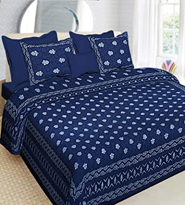 Combo of Rajasthani Printed 2 Bed Sheet 4 Pillow Covers 684Length 108 x Width 93 Inch, MTSP-18,MTDP-11