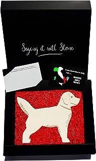 Labrador Fatto a Mano in Pietra Contenente Frammenti Fossili - Incl Confezione Regalo e Bigliettino. Simbolo di Devozione ...