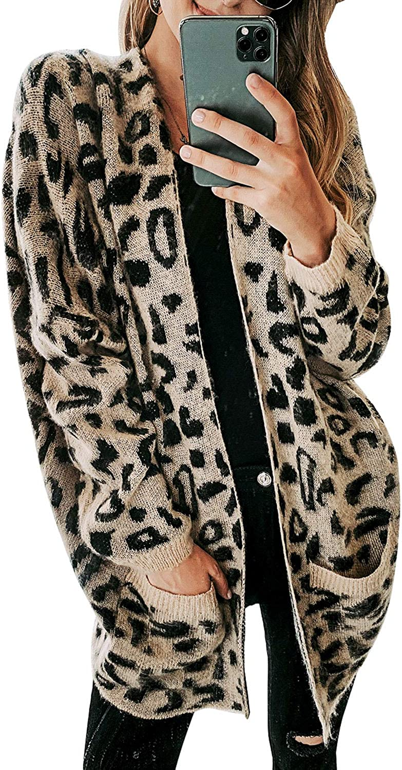 Sollinarry Women Leopard Print Sweater Cheetah Knitted Cardigan with Pockets