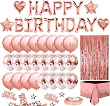 MOVINPE Rose Gold Birthday Party Decoration, Happy Birthday Banner, Rose Gold Fringe..
