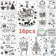 Fartime 16Pcs Christmas Stencils with Merry Christmas,Santa Claus,Christmas Tree,Snowflakes,Bulbs,Reindeers for DIY Drawing Painting Craft Projects(10