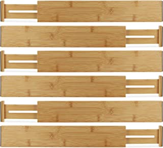 $59 » Hartons Bamboo Kitchen Drawer Organizers Spring Adjustable & Expandable Drawer Dividers 100% Natural Bamboo Strongest-Heaviest Duty - Best for Kitchen, Dresser, Bedroom, Bathroom,Desk. (Set of 6)
