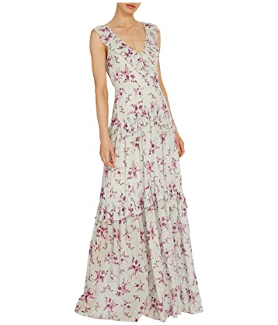 ML Monique Lhuillier Sleeveless Floral Printed Gown w/ Pleated Trim (Pale Mint Multi) Women