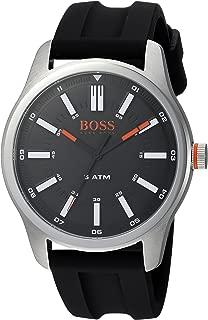 Men's Dublin Stainless Steel Quartz Watch with Rubber Strap, Black, 22 (Model: 1550042)