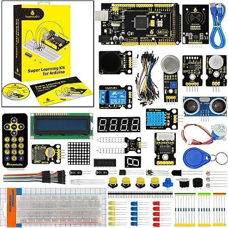 KEYESTUDIO ブレッドボード モジュール センサー スターターキットfor Arduinoをはじめよう アルディーノ キット 互換 MEGA ATMEGA2560 マイコンボード 電子部品 科学実験 回路 おもちゃ セット 初心者 子供 大人向け 電子工作 プログラミング 知育玩具 プレゼント