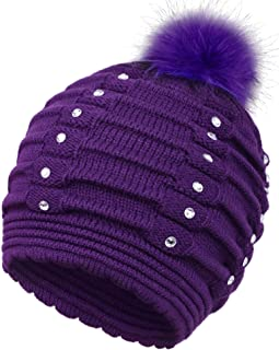 Horizontal Cable Knit Beanie with Sequins and Faux Fur Pompom
