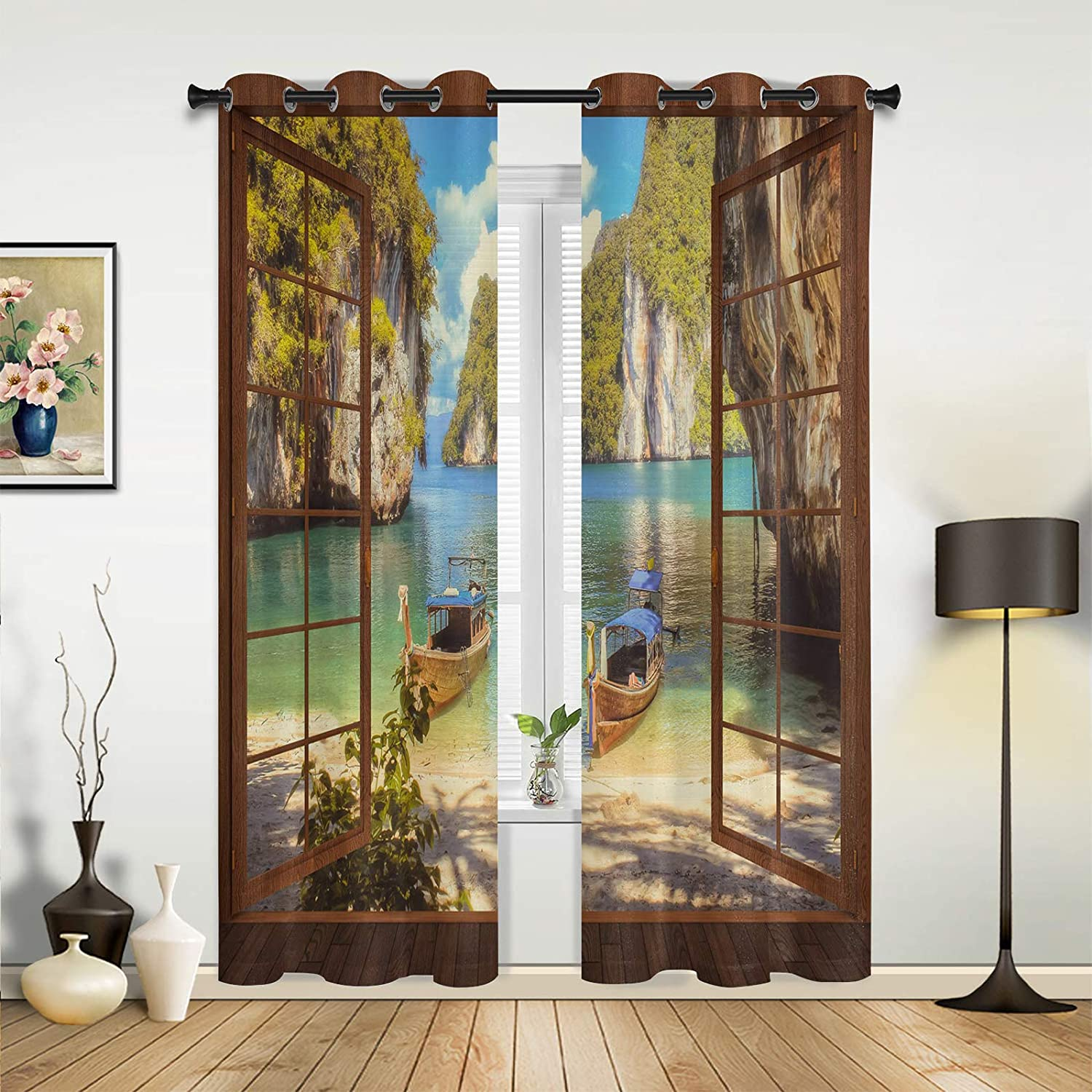 Window Sheer Curtains Topics on TV Mail order cheap for Bedroom Living Beach Dreamy Room Canyo