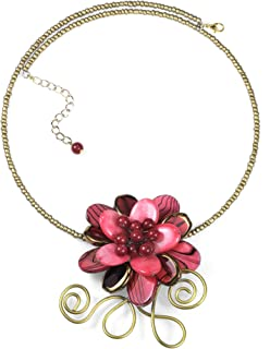 Floral Vine Paradise Red Mother of Pearl and Glass Choker-Necklace