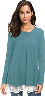 Afibi Womens Shirts Lace Casual Tee Shirts Long Sleeve Button Up Loose Fits Henley Tunic Tops Blouses