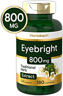 Horbaach Eyebright Capsules 800 mg | 180 Count | Max Potency Herb Supplement | Non-GMO, Gluten Free
