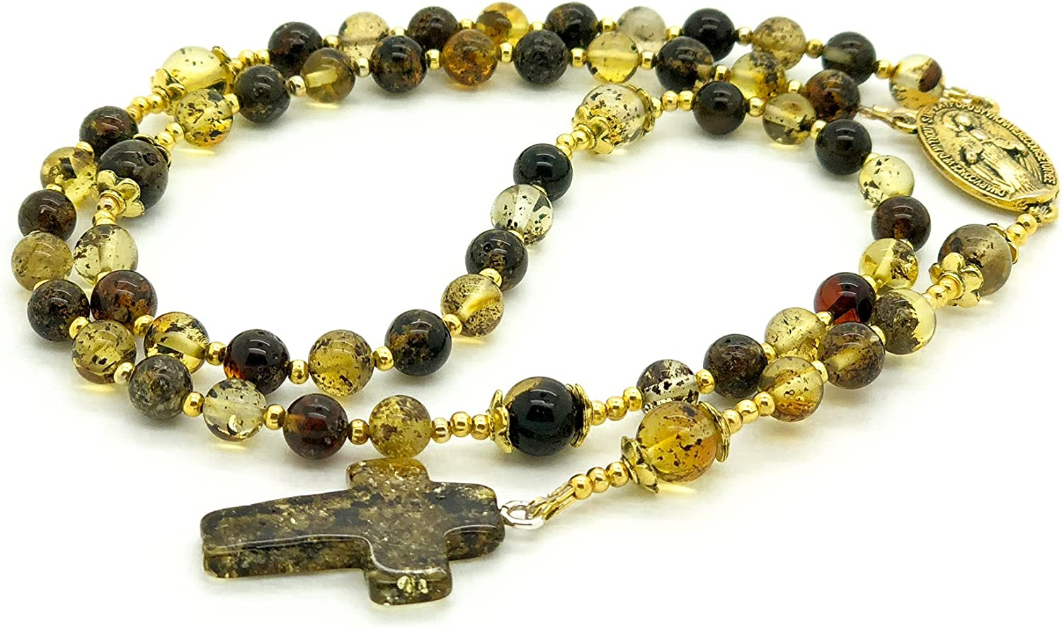 Max 65% OFF Catholic Prayer Beads Necklace Outlet sale feature - Amber Rosa Green Baltic Natural