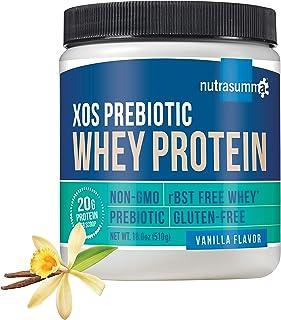 Nutrasumma Whey Protein Powder with XOS Prebiotic Vanilla 18.0oz, 20g RBST-Free American sourced whey Protein, 4,000mg of ...