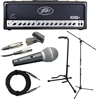 Peavey 6505 Plus Guitar Amplifier Head with Mic, Mic Stand, 2 Knox Guitar Cables and Guitar Stand