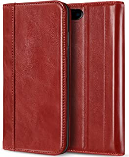 ProCase iPhone 8 Plus 7 Plus Genuine Leather Case, Wallet Folding Flip Case with Kickstand Card Slots Magnetic Closure Protective Cover for Apple iPhone 8 Plus/iPhone 7 Plus -Red