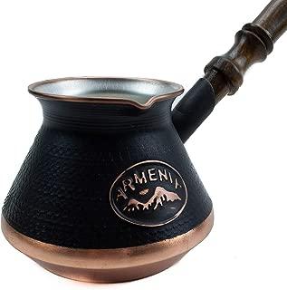 Handmade Armenian Coffee Pot Maker 3 cup (9 Fl Oz) Copper Jazva Ararat Turkish Arabic Greek Cezve Jezve Ibrik Turka Jazve Wooden Handle (3 cup (9 US fl.oz))